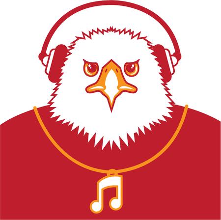 music lyrics: Ilustración de la música águila carácter clip-art Vectores