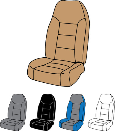 Front car seat vector image clip-art file