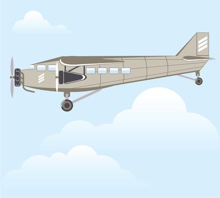 Vintage Airplane with three engines vector file Ilustração