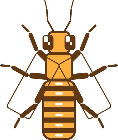 Vector square bee clip-art image Ilustração