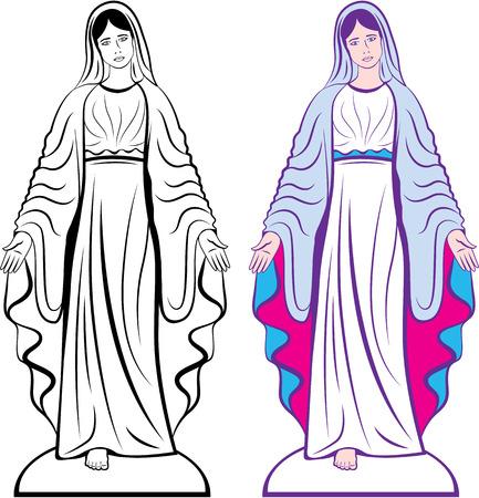 virgen maria: imagen Clip-arte de la escultura del vector católica madrina