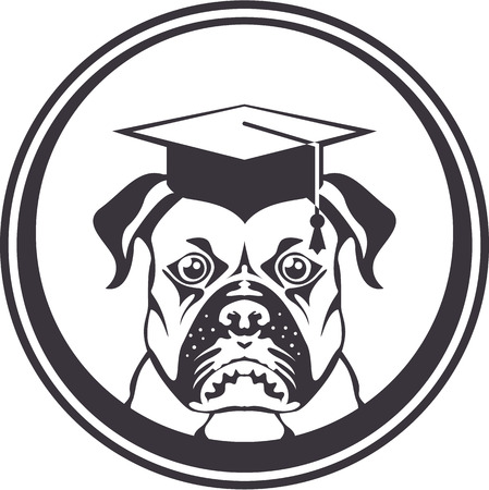 Smart educated dog vector icon clip-art image