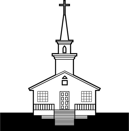 Black and white church vector clip-art image