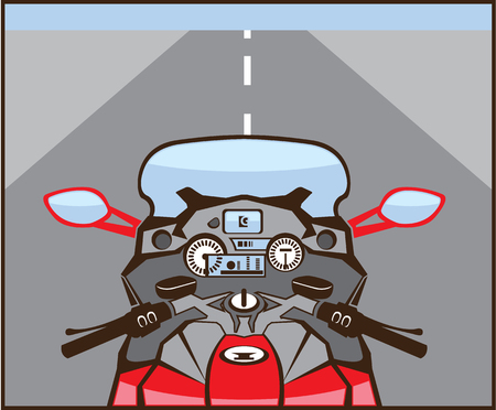 Bikers view motorcycle color vector clip-art image Illustration
