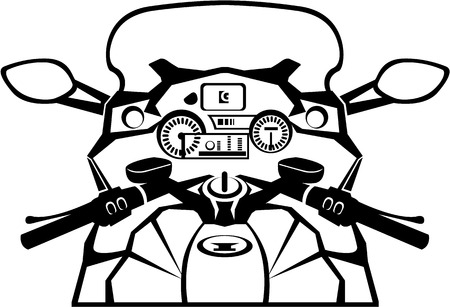 Motorcycle riders view black and white image clip-art Illustration