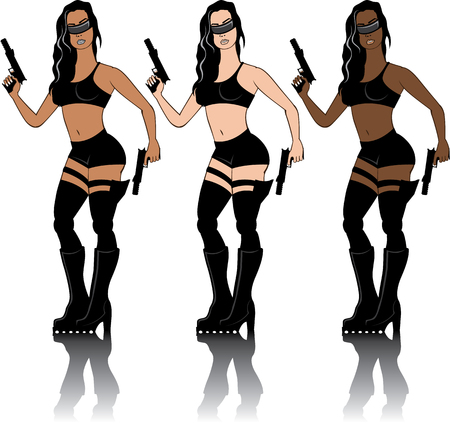 nightvision: Special agent soldier girl vector illustration