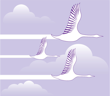 Geese flying formation vector illustration clip-art Vectores