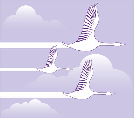 Geese flying formation vector illustration clip-art Vettoriali