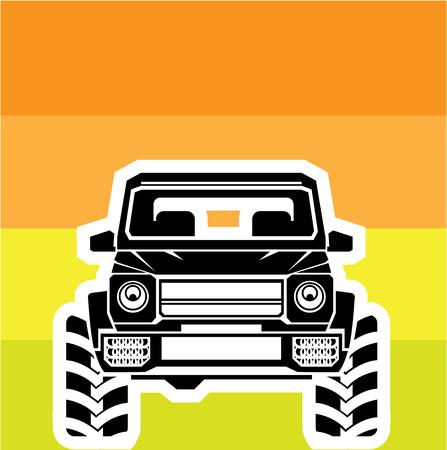 Suv 前面道路車イラスト クリップ アート ベクトル画像オフ