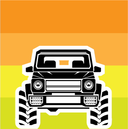 Suv front off road car illustration clip-art vector image