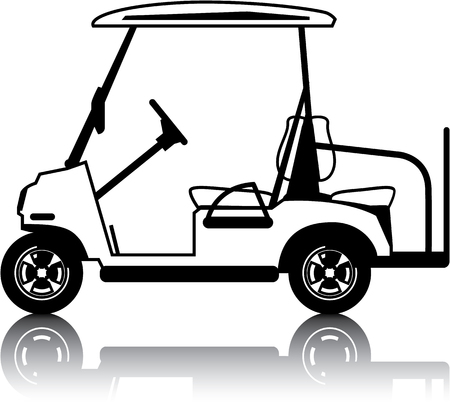 image clip-art vector wit golfkar voertuig Stock Illustratie