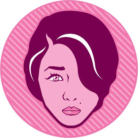 retro hair: Retro Hair Style Icon clip-art vector image Illustration