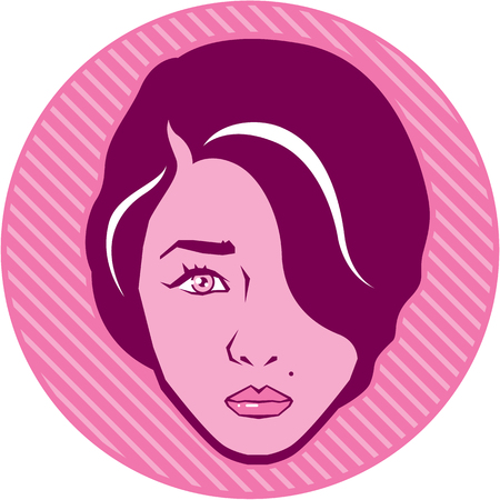 Retro Hair Style Icon clip-art vector image Illustration