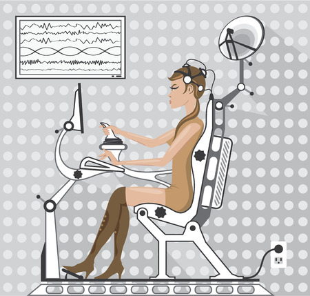 Robot EEG controls vector illustration clip-art