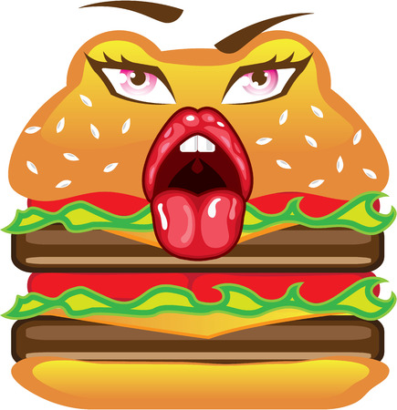 patties: Double hamburger with a face vector illustration clip-art