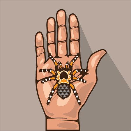 Open hand with a spider vector illustration Ilustração