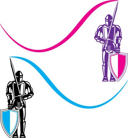 Knights color vector clip-art image