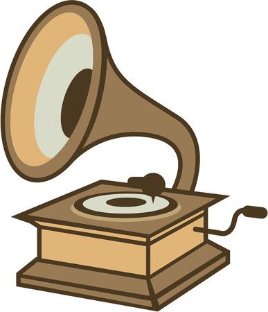 Vintage vinyl speler vector illustratie-illustraties beeld