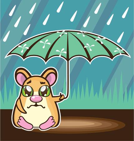 homeless: Homeless hamster vector illustration clip-art image