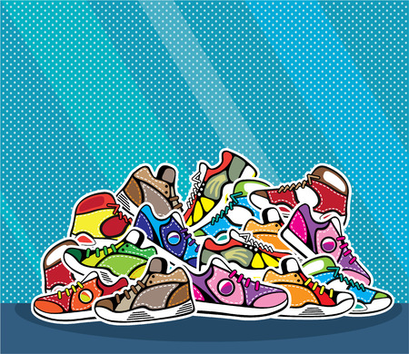 Pile of sneakers shoes vector illustration clip-art Çizim