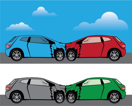 fender bender: Car accident vector illustration clip-art image