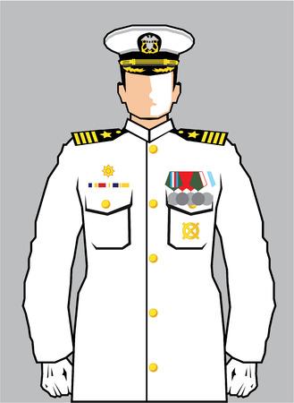 attention: Navy officer vector illustration clip-art image Illustration