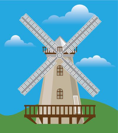 Windmill vector color illustration clip-art