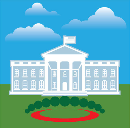 district of columbia: White house blue sky vector illustration clip-art Illustration