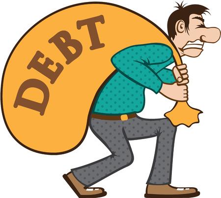 debtor: Debt man vector illustration clip-art image Illustration