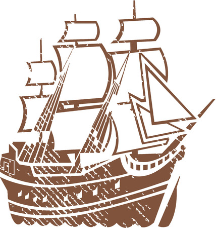 Pirate ship vector illustration clip-art image 向量圖像