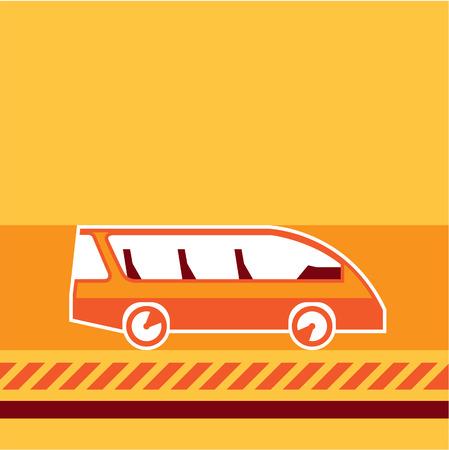 Orange van vector illustration clip-art image Illustration