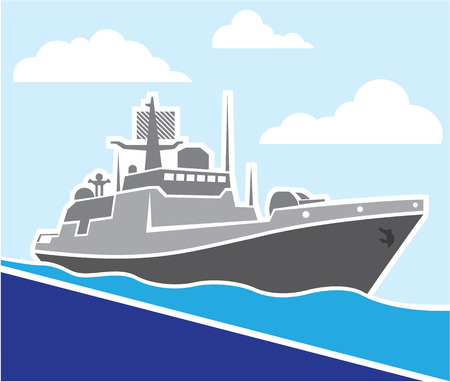 War ship illustration clip-art vector image