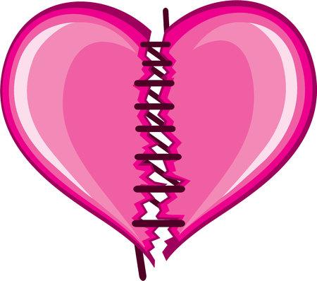 Stiched heart vector illustration clip-art image file