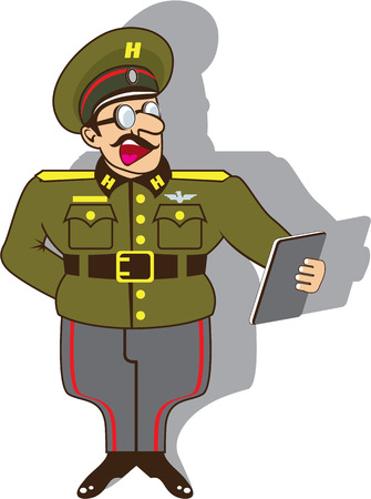 dictator: Military officer cartoon vector illustration image