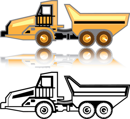 heavy duty: Articulated truck machinery vector image illustration