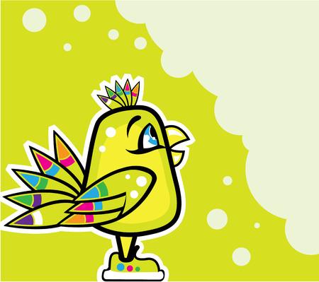 Colorful bird vector illustration clip-art eps Illustration