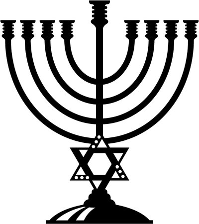 zionism: Jewish candle holder vector illustration clip-art image