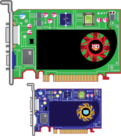pci: Video card vector illustration clip-art eps image