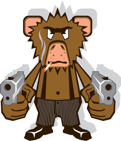 mobster: Gangsta monkey vector illustration clip-art eps image Illustration