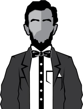 abolition: Lincoln vector illustration clip-art icon image Illustration