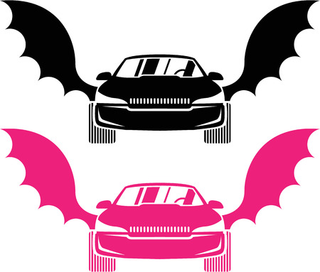 motoring: Car with wings vector illustration clip-art image