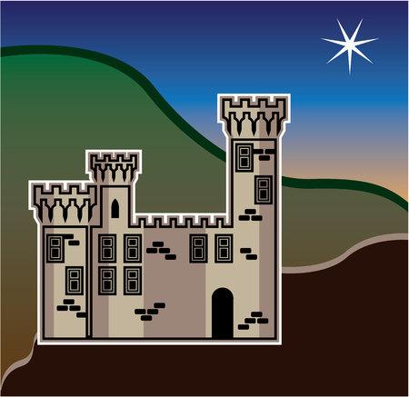 Castle star vector illustration clip-art image