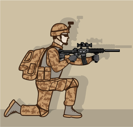 Kneeling soldier vector illustration clip-art image
