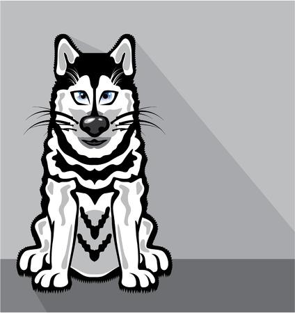 Alaskan Dog cartoon vector illustration image