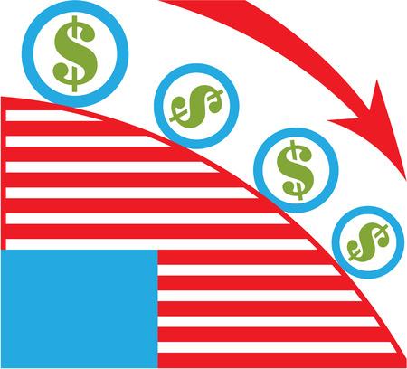 lowering: Dollar roll vector economy clip-art image