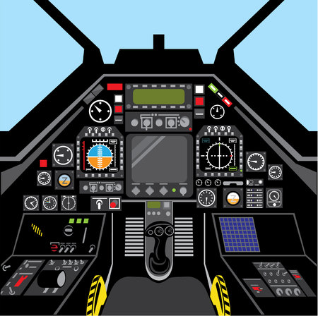 Airplane Cockpit fighter jet inside vector image