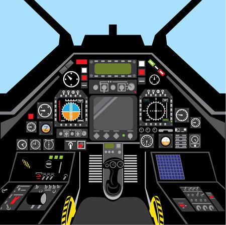 Cockpit van het vliegtuig straaljager vector beeld binnen
