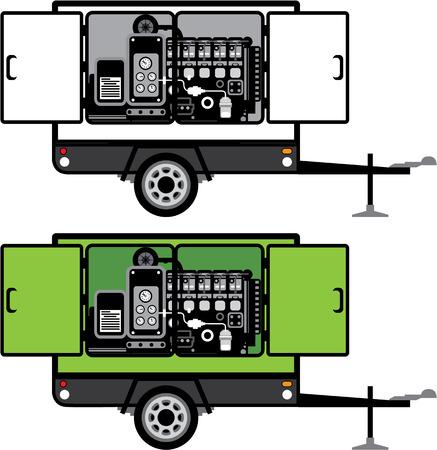 Generator trailer vector illustration clip-art image Vettoriali