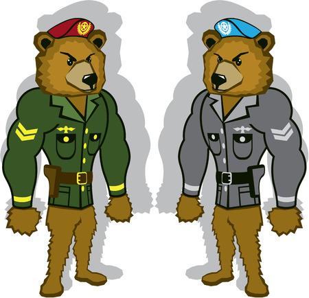 Bear soldier vector illustration clip-art image Illustration