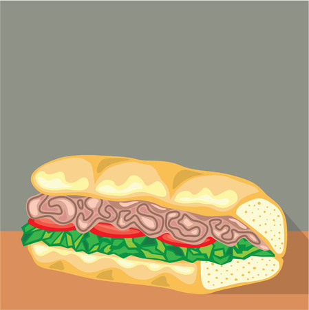 deli sandwich: Sandwich vector illustration clip-art image